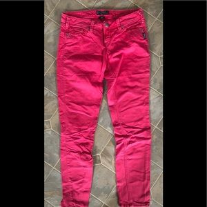 Silver Red Skinny Jeans